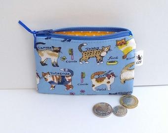 Cat coin purse, change purse, cat purse, cats purse, cat gift, cats gift, cat birthday, crazy cat lady gift, zip purse, cat zipper pouch,