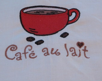 Embroidered Linen towel cafe au lait
