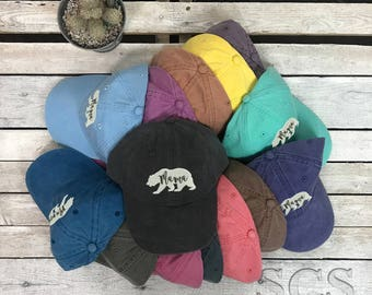 Mama Bear Baseball Cap, Washed Dad Hat, Womens Hat , Womens Accesories, Animal Lover, Bear Hats, Bear Family, Mothers Day Gift, Mom Gifts