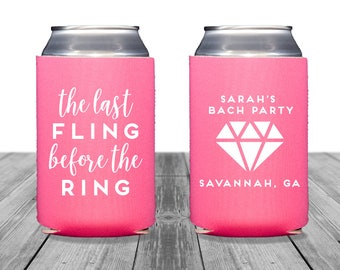 Bachelorette Can Coolers, Personalized Coolies, Wedding Coolies, Neoprene Coolers, Custom Can Huggers, Last Fling Before the Ring, 1275