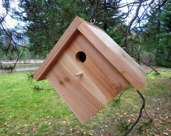 Cedar Bird House - All Natural - Hand Made - Diamond Shape - Eco Friendly