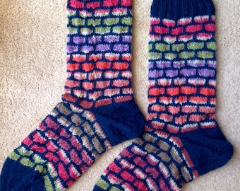 Mosaic Brick Patterned Hand Knit Wool Socks Opal Yarns (S-232)
