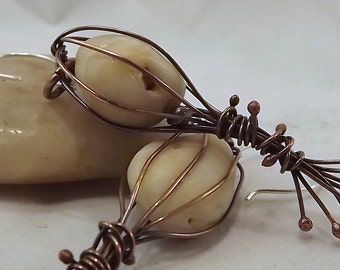 Erdig Caged Kiesel Kupfer Ohrringe