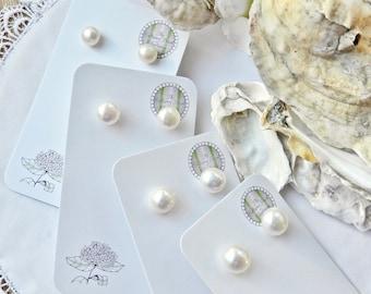 Classic Freshwater Pearl Stud Earrings Handmade In Charleston SC-Handmade
