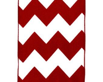 "5"" Bold Red White Chevron Ribbon (10 Yards)"