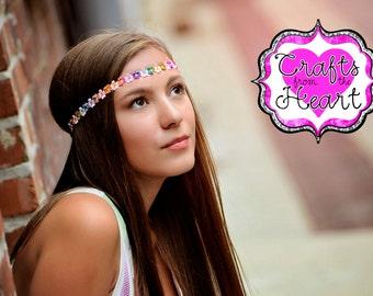 Flower Boho Headband - Adult Boho Headband - Bohemian Headband - Hippie Headband - Flower Halo Headband - Colorful Boho Headband - Boho