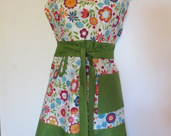 Multi-color/Green Floral Print Full Apron