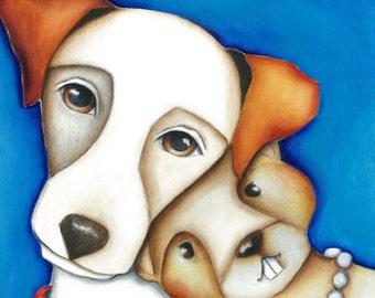 Dog Ground Hog PRINT on Wood 6x6 Jack Russell Terrier Gopher