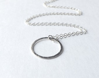 Circle Necklace Simple Circle Pendant Eco Friendly Sterling Silver Handmade Everyday Jewelry