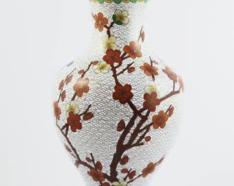 Chinese Cloisonné Enamel Brass Vase - White / Sakura / Lily / Birds