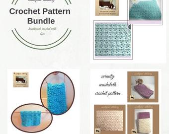 CROCHET PATTERN Bundle, Washcloth Pattern, Dishcloth Pattern, Hand Towel Pattern,  Instant Download PDF English Only
