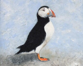 Puffin #5. Fine art prints from an original painting by Dorset artist Cliff Towler