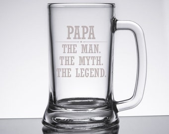 Gift for Papa from Kids, The Man The Myth The Legend Beer Mug, Engraved Beer Glass, Papa's Beer Glass, Father's Day Gift for Grandpa