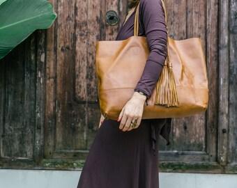 Big Leather Handbag / Womens Leather Bag / Shoulder Bag / Messenger bags / Handbags / Cognac leather Bag / + Small Womens purse