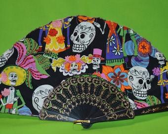 Day of the dead hand held fan, dia de los muertos fan