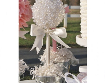 PEARL TOPIARY CENTERPIECE / Baptism center piece / Quinceanera centerpiece / Christening centerpiece / Baby shower centerpiece / Communion