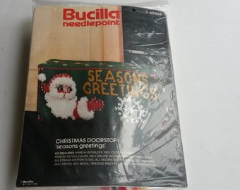 Bucilla Christmas Doorstop Seasons Greetings Kit 60554, Crewel Kit - BB6