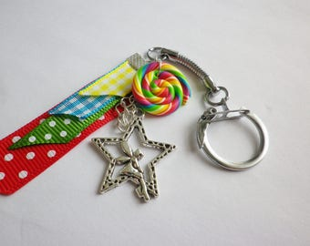 Lollipop lolipop Keychain multicolor gift school Ribbon has polka dots