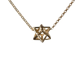 Merkaba Necklace Gold Filled Pendant Sacred geometry Kabbalah Jewelry Star of David 3d Seed of life  Handmade GP7
