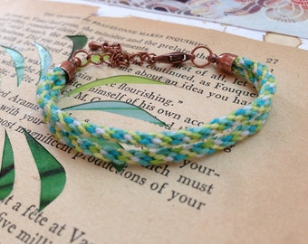 Summer ocean woven kumihimo friendship bracelet