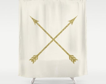 Boho Shower Curtain, Gold, Ivory, Arrow Shower Curtain, Boho Decor, Rustic Bathroom, Teen Room Decor, Girls Bathroom Decor, Housewarming