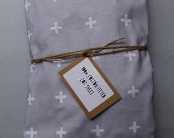Fitted Cot Sheet / Fitted Crib Sheet - 100% Cotton in Grey Cross print - READY TO SHIP by Little Dreamer