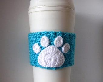 Crochet Pet Paw Coffee Cup Cozy