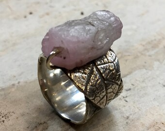 Silver Wedding band, boho ring, nature band, raw pink quartz ring, OOAK ring, wide silver band, unique engagement ring - Savasana R2397