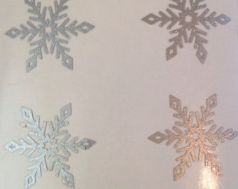 20 x silver glitter effect snowflakes vinyl/decal