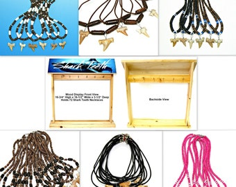 WHOLESALE PRICED 72 Fossil Shark Tooth Surfer Necklaces with Wood Counter Display Great Sharks Teeth