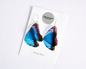 Blue Butterfly Earrings, Butterfly Wing Earrings, Electric Blue Jewellery, Dangle Earrings, Blue Morpho, Drop Earrings, Festival, Vegan