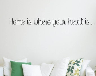 Vinyl Wall Word Decal - Home Is Where Your Heart Is - Home Decor - Wall Word