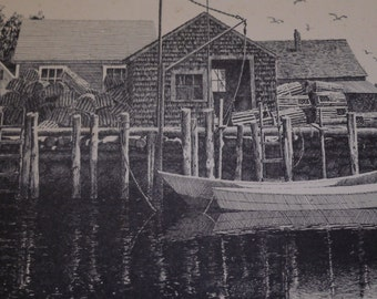 New England boats, docks and harbors by Peter Byler. Ink & pencil sketching #127/200  Signed