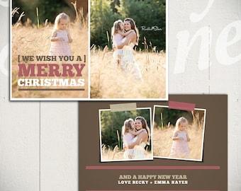 Christmas Card Template: Good Tidings B - 5x7 Holiday Card Template for Photographers