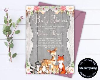 Rustic Baby Shower Invitation Girl Baby Shower Invite Woodland Animal Baby Shower Template Rustic Baby Girl Shower invitation Template