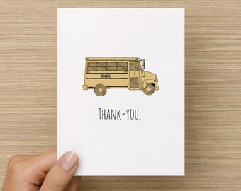 Greeting Card - Teacher Card: Thank You Card, Teacher Gift, End of School Gift, Teacher Appreciation Gift, Bus Driver, Card for Bus Driver