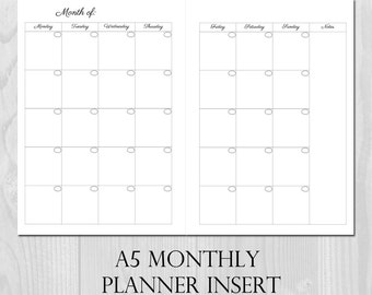 Monthly Planner Printable Insert A5 Size Undated - Month on 2 Pages