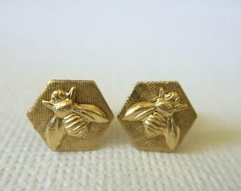 Honeybee Stud Earrings, Honeycomb Bee Earrings, Petite stud earrings, Hexagon Earrings, Gold earrings, Mothers Day, Gift for Her, Bridesmaid