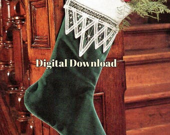 Christmas Victorian Stocking Pattern, Classic Battenburg Lace Vintage Sewing, Holiday Decorating, PDF Instant, Digital Download
