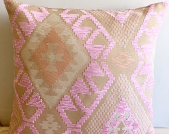 Pink Chenille Pillow Cover 18x18 Pillow Chenille Pink Pillow Designer Pillow Pink Pillows Chenille Cushion Pink Sofa Pillow Cover
