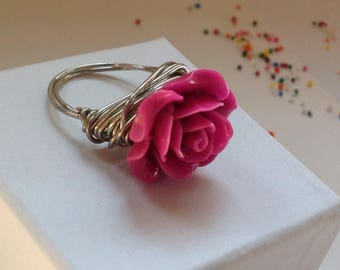 Bright pink rose wire wrapped statement bohemian ring