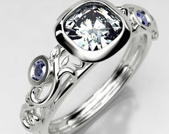 Ethereal Scroll Cushion Cut Moissanite Engagement Ring, Made to Order in your choice of Gold, or Palladium Gold, Size 4 Engagement Ring