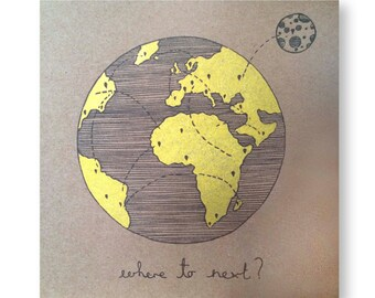 Where to Next Hand Painted GOLD Illustrated Card, Limited Edition Traveller Greeting Card, Travel Card, Nomad, Handmade Gold Greeting Card
