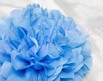 CORNFLOWER BLUE/1 tissue paper Pompoms,single pompom,nursery room decoration,baby shower,wedding,birthday,party,engagement,bridal shower,DIY
