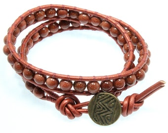 Unisex Copper Color Wrap Bracelet, Goldstone, Double Wrap Bracelet, Leather Wrap Bracelet, Fathers Day Gift