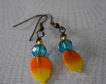 Yellow and Orange Feather Drop Earrings  (20188E)