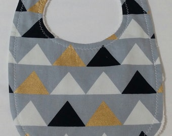 Grey with Black, White and Gold Triangles