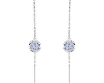 Rhodium Plated Silver Round 1.7ct Aqua CZ Bezel Threader Dangle Earrings(HBHB17E0636AAQ)