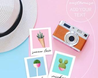 Polaroid Style Mini Prints, Cactus Printable, Cactus Decor, Surreal Art Prnt, Dorm Decor, Cactus Print, Polaroid Printable, Cactus Wall Art