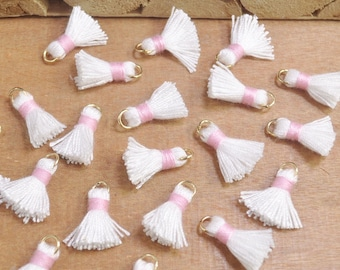 20pcs 15mm Mini Tassels,White,Short Boho tassels,earring,Small tassels Fringe Trim,DIY Craft Supplies,Jewelry tassels - FH36